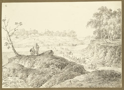 View of D'Oyly's encampment at Jehanabad on the Damoda River (Bengal). 26 January 1823